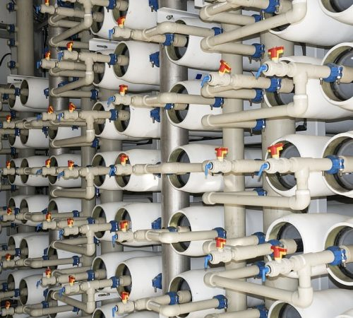 Mediterranean desalination (reverse osmosis) facility purifies seawater to potable water standards for domestic consumption.
